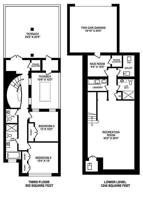 One Saint Thomas Condo Townhouses 3 Bedrooms 4410 Square Feet 3rd Lower Levels Victoria Boscariol Chestnut Park Rea Floor Plans Bedroom Floor Plans Townhouse