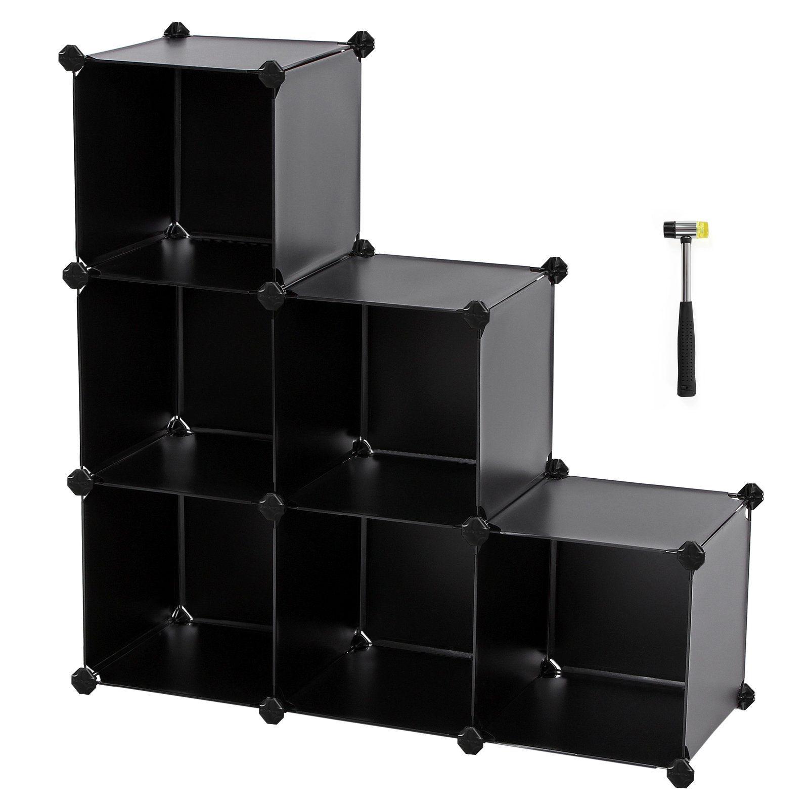 SONGMICS Storage Cube Organizer DIY Plastic Closet Shelf with Rubber