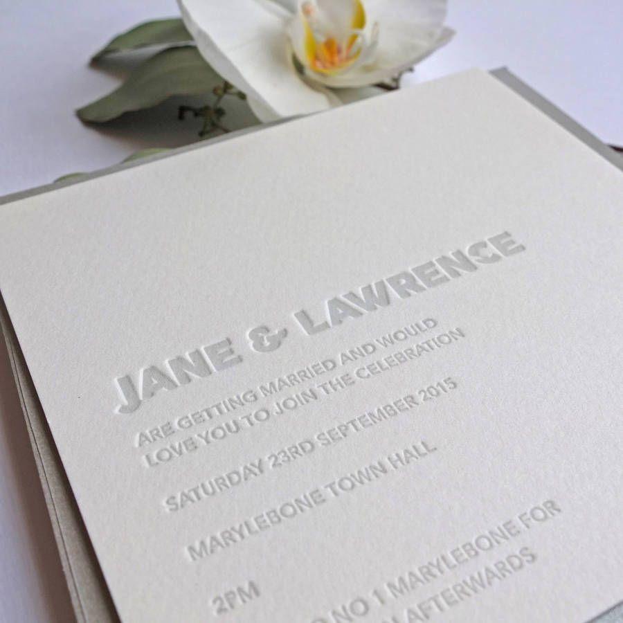 Embossed letterpress wedding invitation pinterest letterpresses