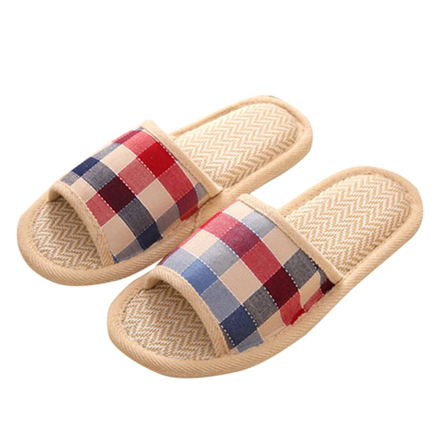 Sweet Indoor Shoes Cotton Linen Classic Grids House Open-Toes Slippers