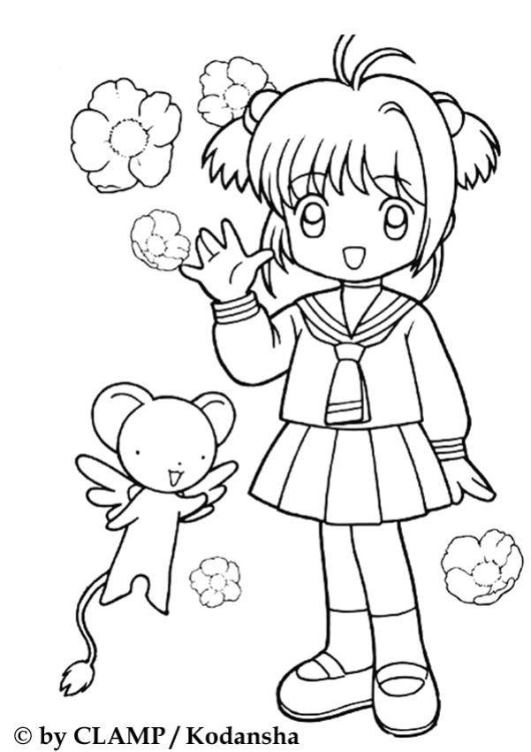 Coloriage de petite Sakura en écolière | coloriages | Pinterest ...