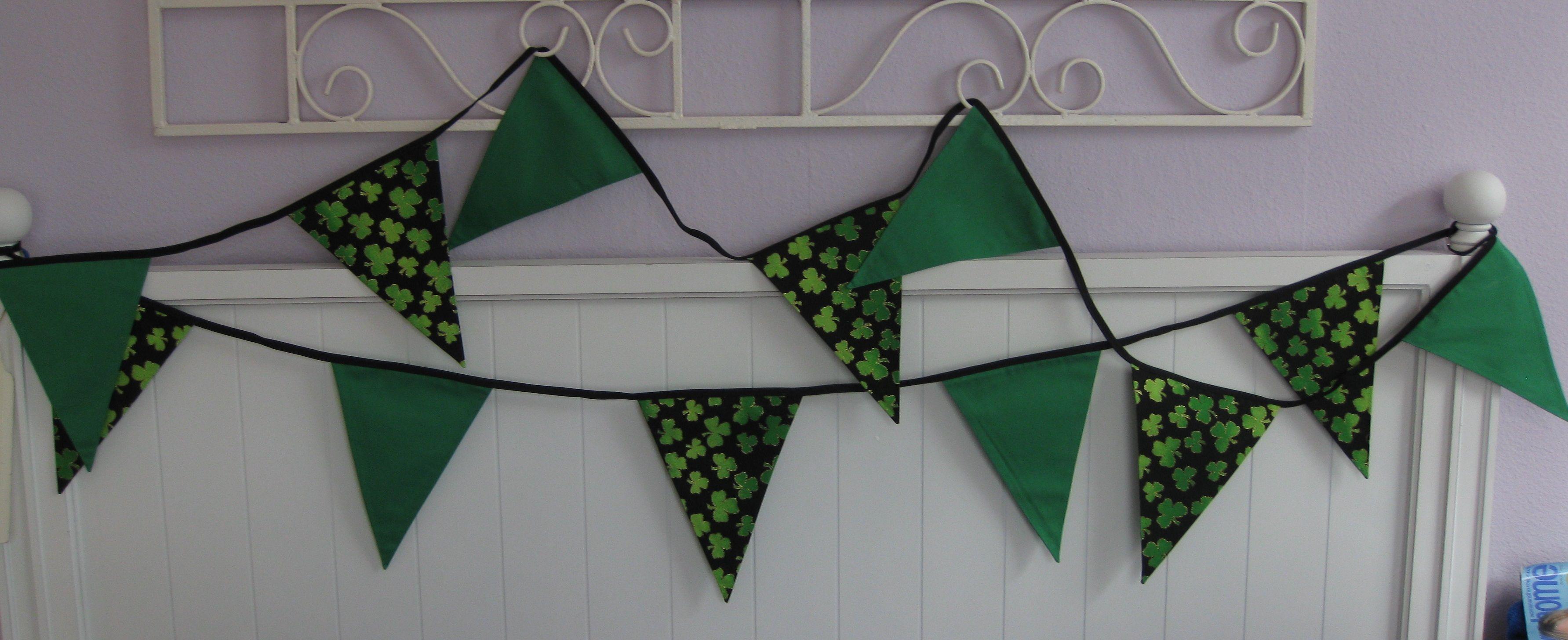 Irish bunting. Fabric bunting. Shamrocks. St.Patrick's Day.