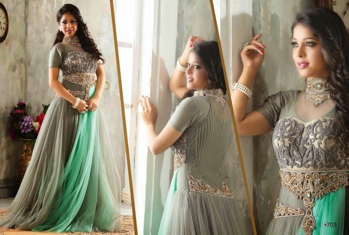 Very Beautifull and Attractive Party wear western Netted Gown in Shaded Green and Grey color. with stunning work en-crafted. Sizes: L, XL