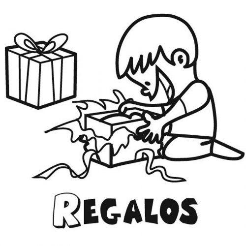 Dibujo para colorear de niño abriendo sus regalos | Party vocabulary ...