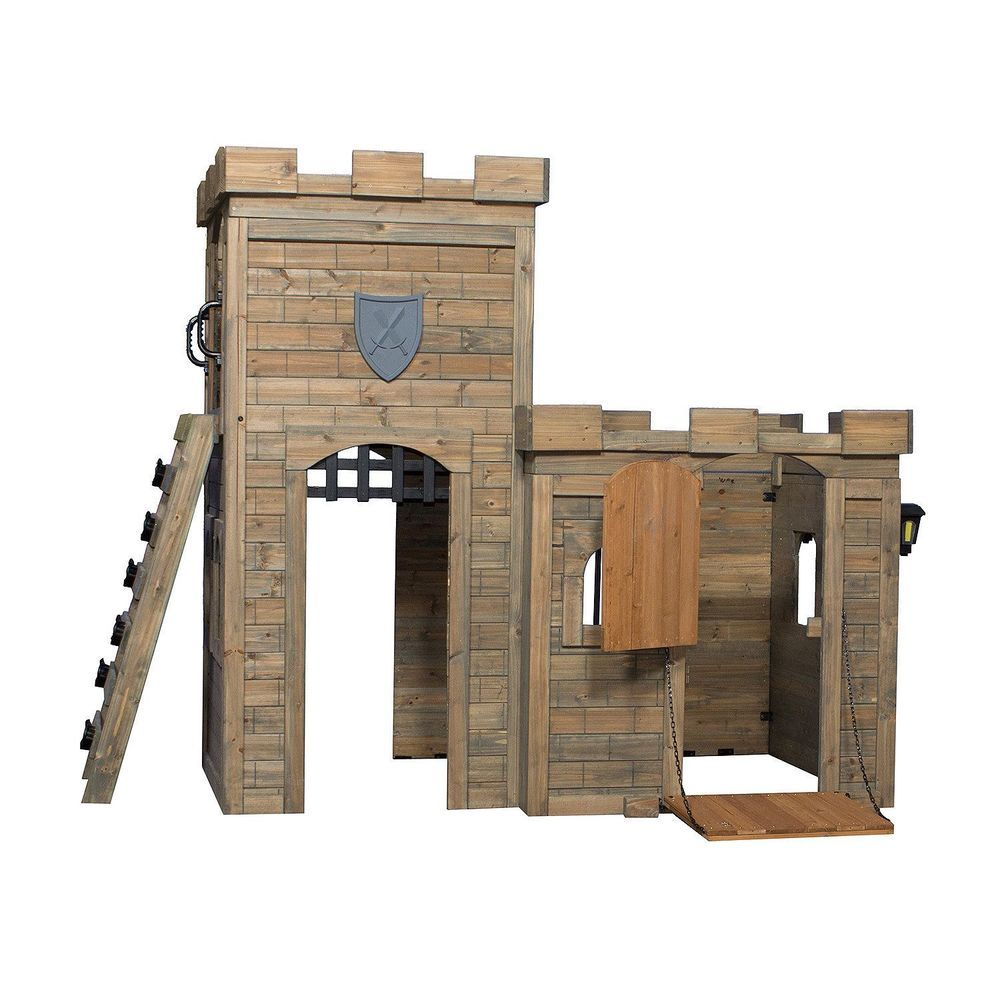 Castle play set playhouse outdoor cedar wood brick style with foot