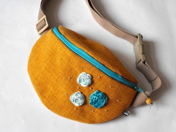 fanny pack  brownyellow and light blue by toritextil on Etsy, $30.00