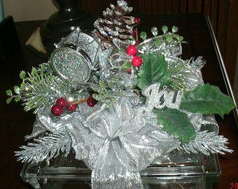 Interchangeable, Glass Block, Winter, Silver, Joy, Holiday, Christmas Centerpiece, Home Decor Centerpiece, Table Decoration, Lighted