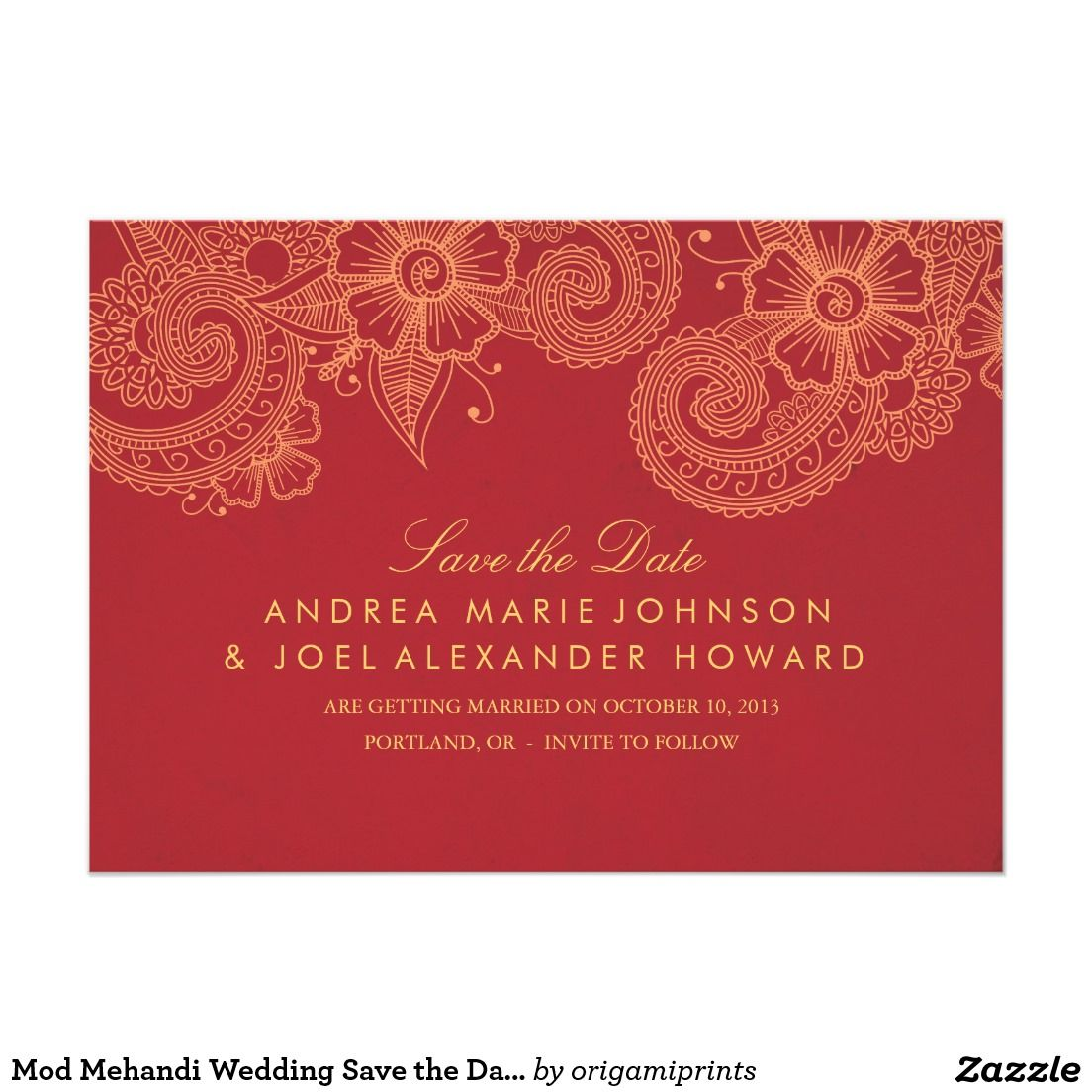 Mod Mehandi Wedding Save the Date Card Beautifully printed save the ...