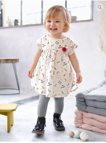 b283b130108 Robe ivoire imprimée bébé manches courtes Vertbaudet - mode enfant - mode  fille - collection automne