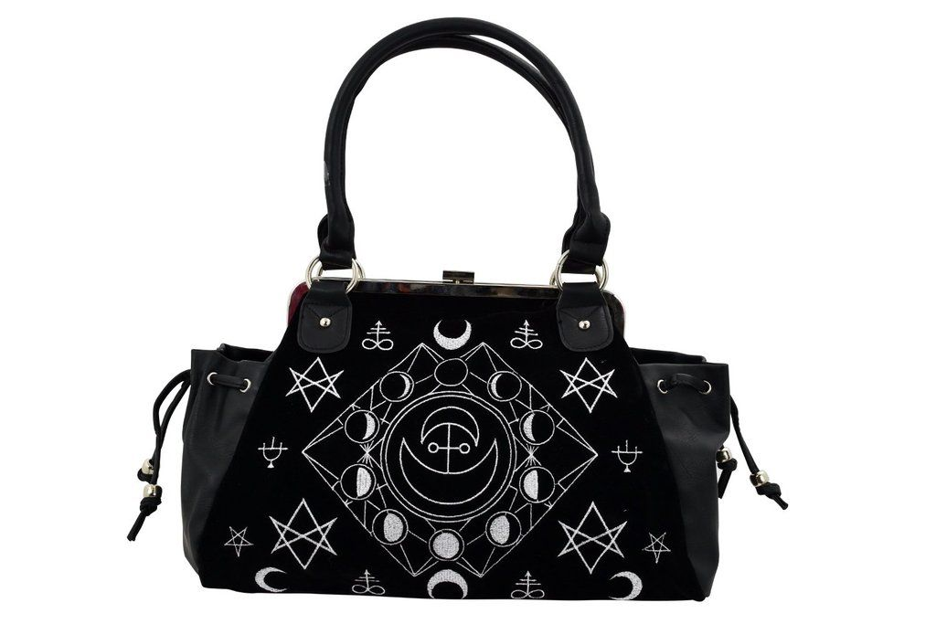 Witchcraft Moon Cycle And Occult Symbols Black Velvet