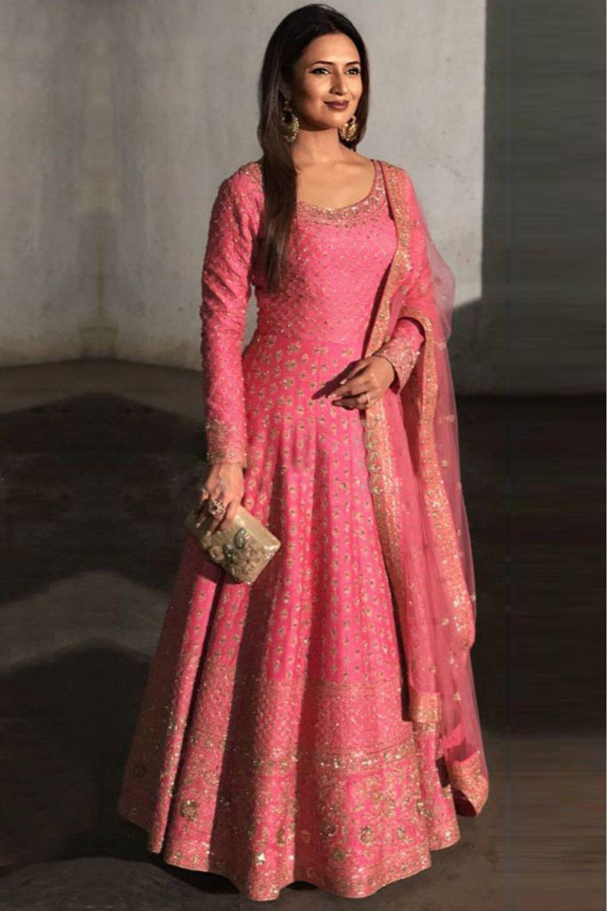 a76192dfb84 Pink Colour Taffeta Silk Fabric Party Wear Gown. This Gown Is crafted with  Embroidery. This Gown Can Be Stitched Up to size 42.