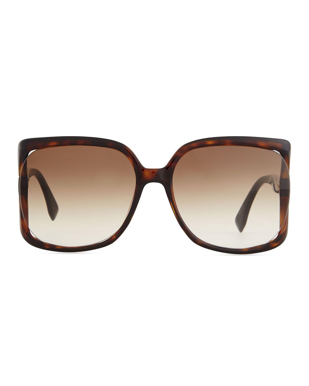 Fendista-Temple Sunglasses, Brown