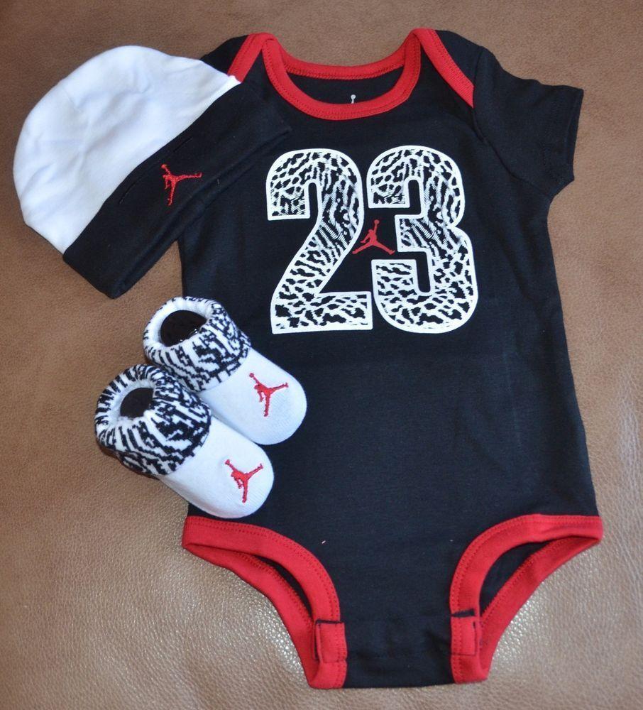 NWT Nike Jordan baby boy 3 piece set bodysuit 2670818b3d5