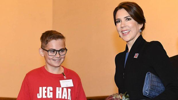 Crown Princess Mary presented the christmas seal stamps at the Copenhagen City Hall