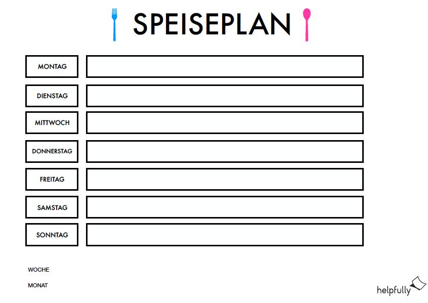Speiseplan Fur Die Woche Kindergarten Co In 2020 Ausdrucken Planer Vorlagen