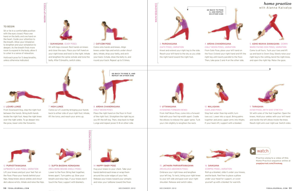 Yoga Sequence From Yoga Journal Dec 12 Yoga Journal Yoga Flow Sequence Yoga Asanas