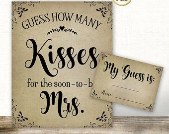 This is an image of Accomplished How Many Kisses for the Soon to Be Mrs Free Printable