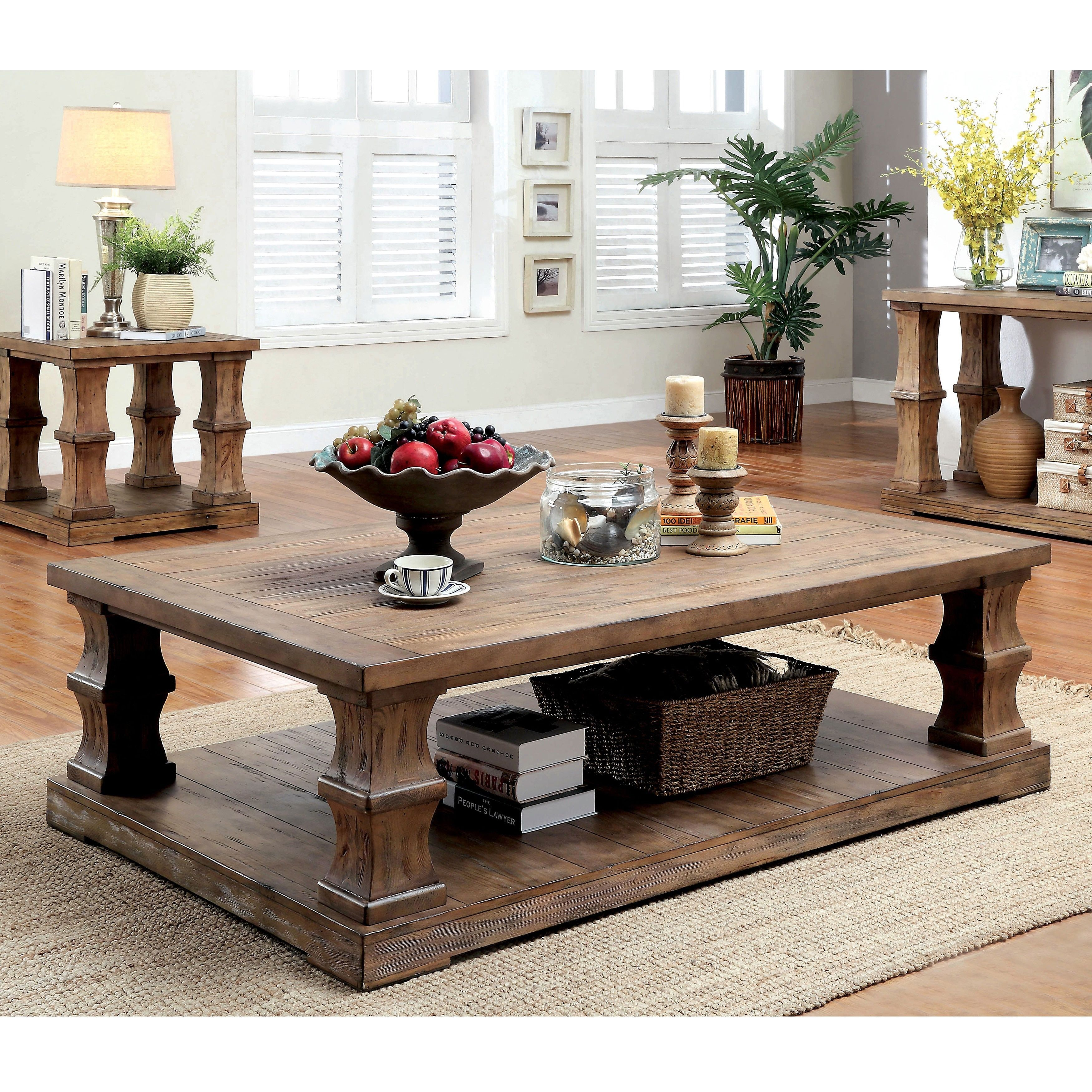 Furniture Of America Lass Transitional Brown Solid Wood Coffee