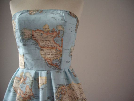 World map dress printed strapless cotton summer dress map of the world map dress printed strapless cotton summer dress map of the world dress in blue green atlas strapless dress made to order gumiabroncs Images