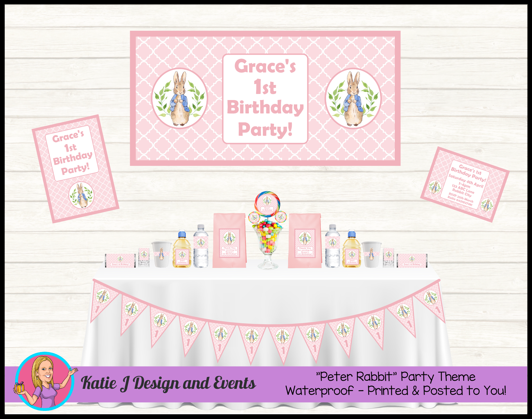 Girls Pink Peter Rabbit Personalised Birthday Party Decorations Supplies Packs Shop Online Australia Banners Bunting Wall