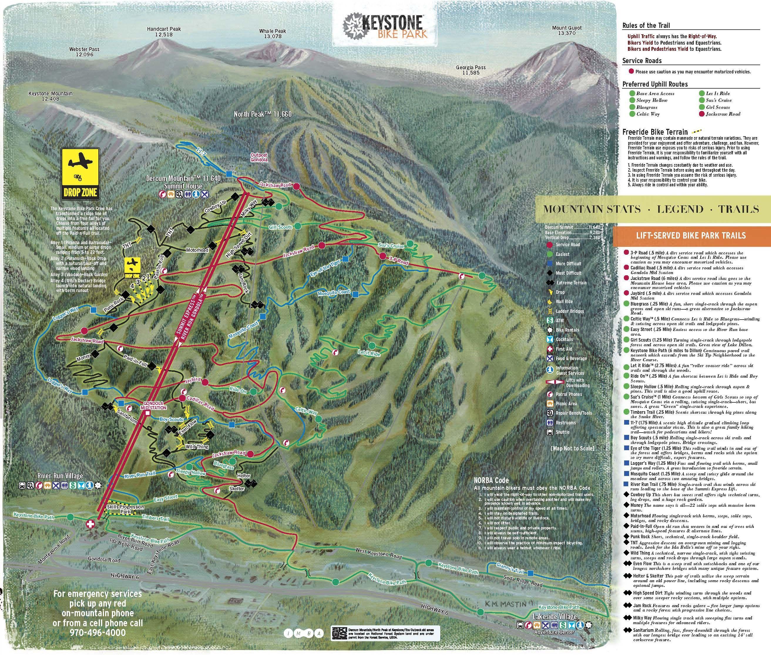 Keystone Downhill Bike Trail Map Bike Trails Ski Town Park Trails
