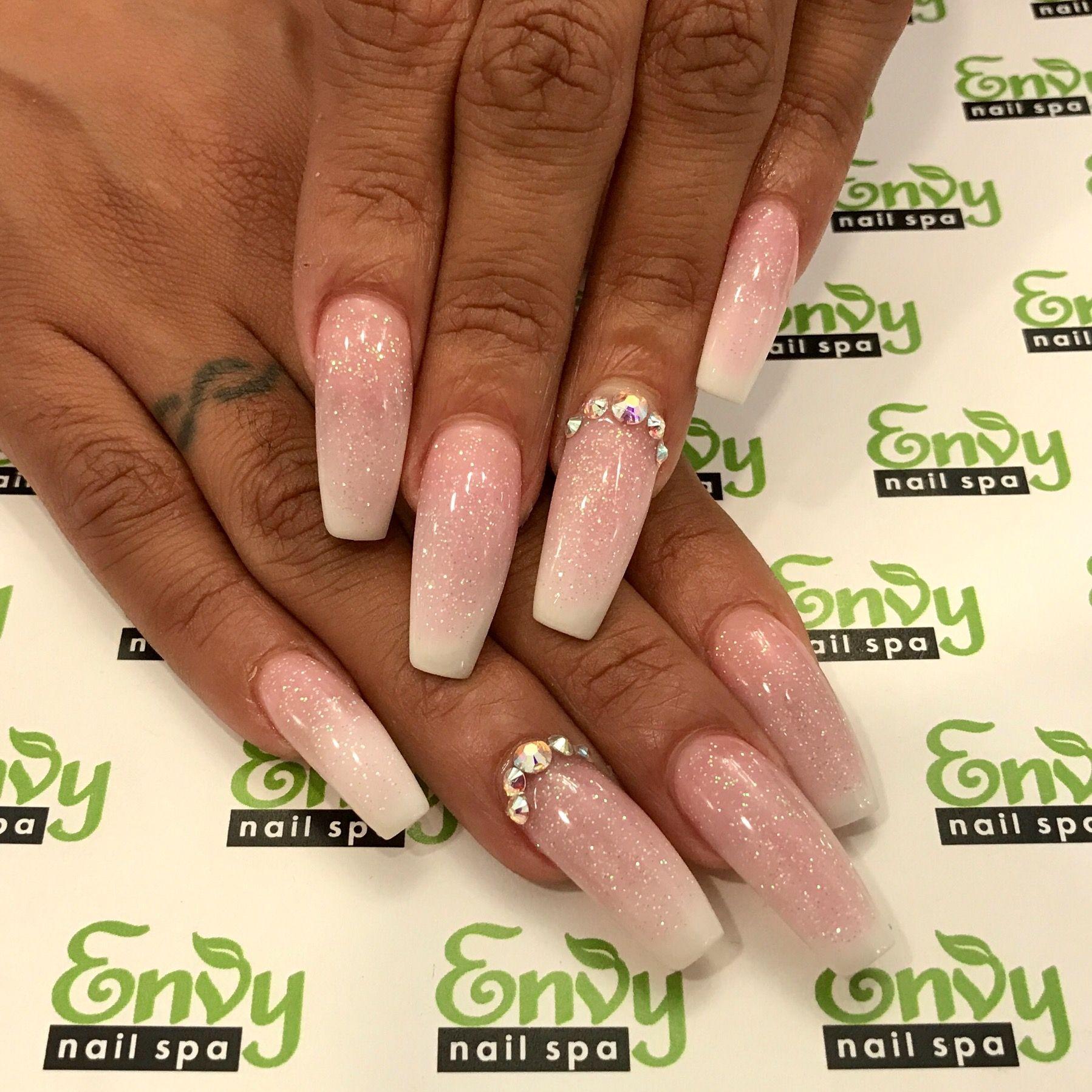 Pink & White, Glitter, Fading, Swarovski Crystals, Rhinestone Nails ...