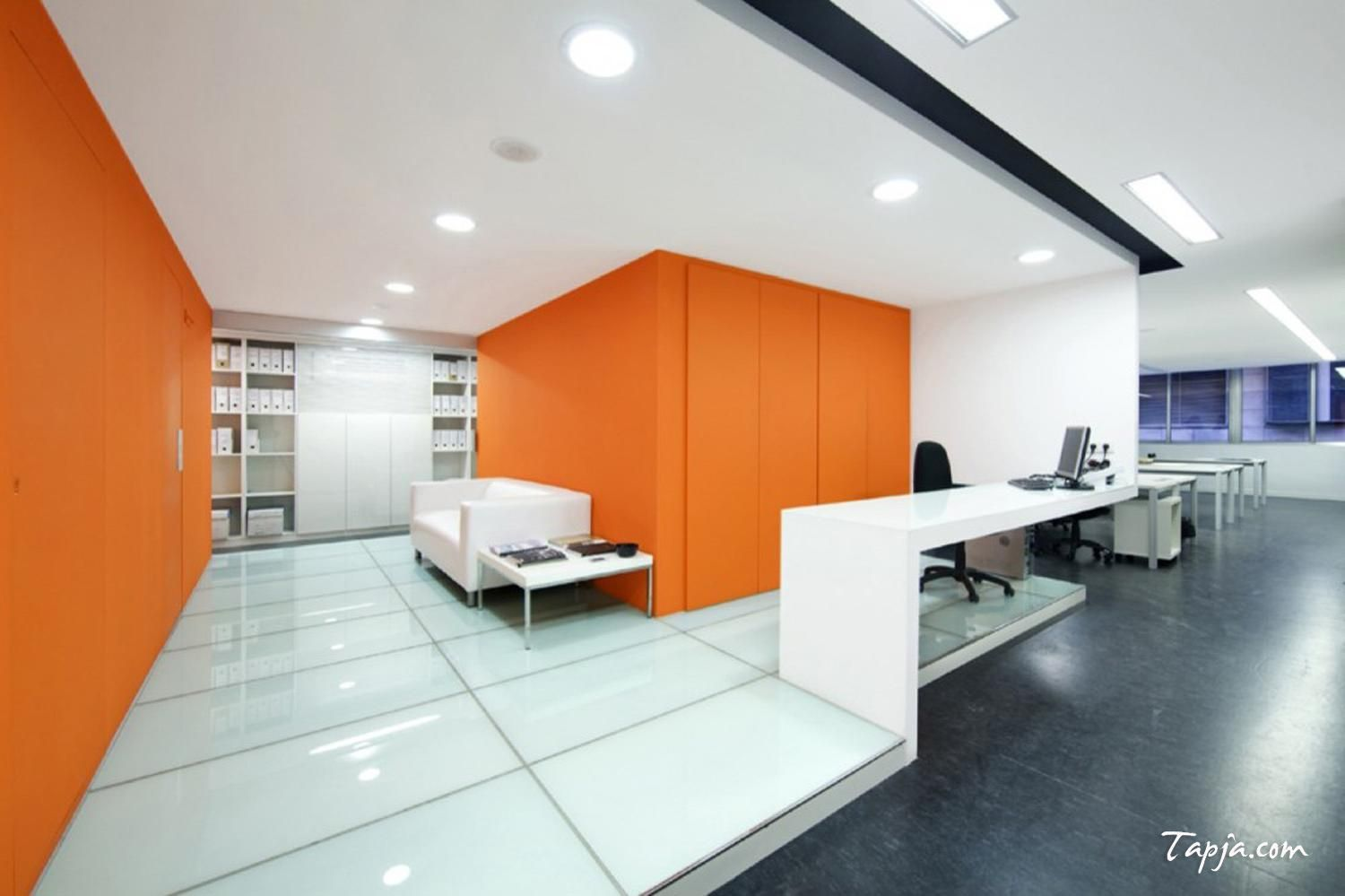 Comfortable white orange wall colors for modern office for Modern office designs photos