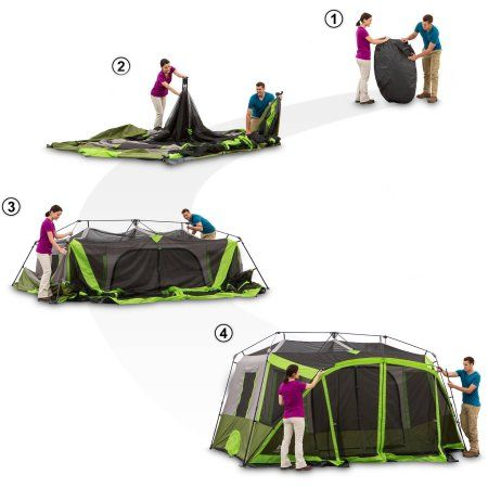 Ozark Trail 9 Person 2 Room Instant Cabin Tent With Screen Room Walmart Com In 2021 Cabin Tent Ozark Trail Tent Camping
