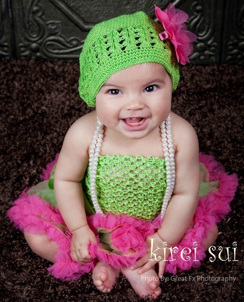 Baby Girls Lime Green Crochet Tube Top for Pettiskirt Tutu 1-3 Yrs ...