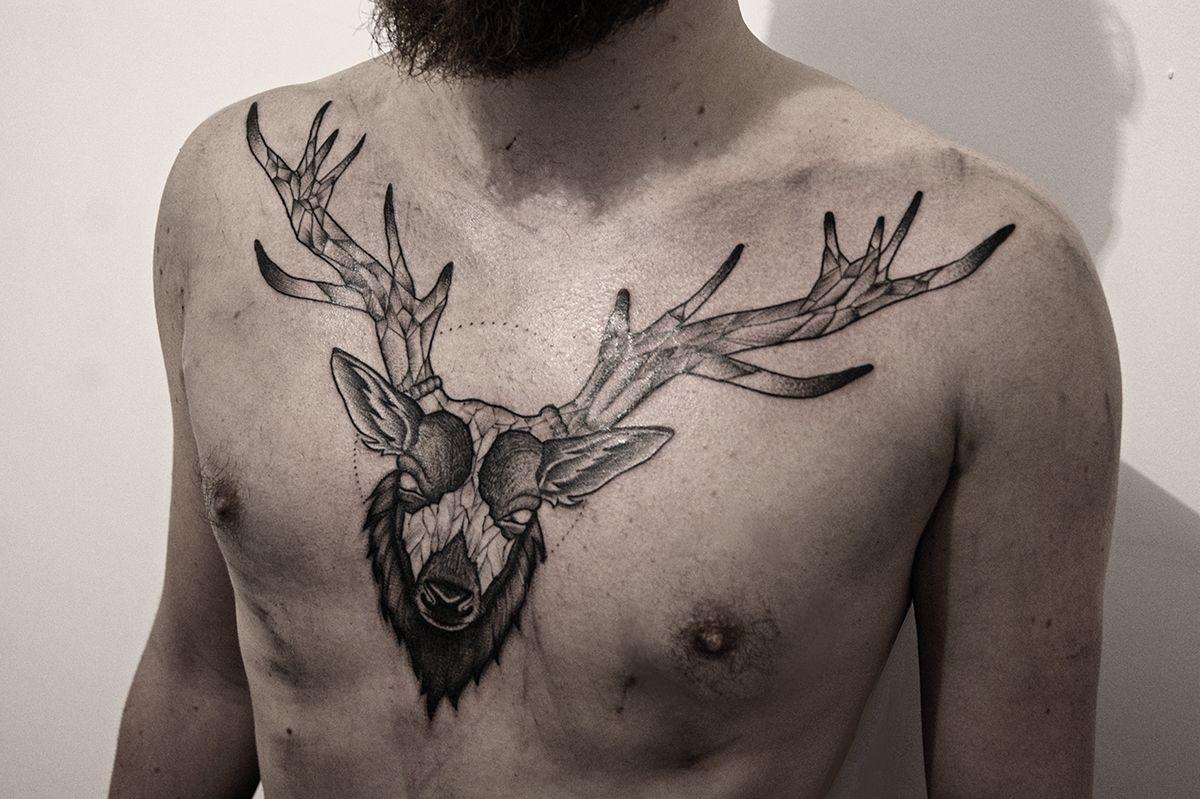Deer Chest Tattoo On Behance Tattoo Stag Tattoo Chest