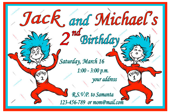 Download Now FREE Template Thing 1 And 2 Birthday Party Invitations