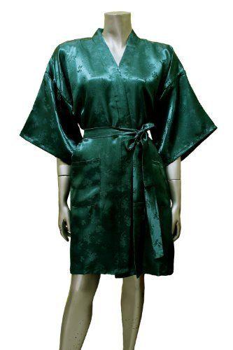 Kimono Satin Silk Robe Bathrobe for Women (Short) - Sea Green ORIENTAL  VILLAGE SILK COLLECTION 6aaf05f0d