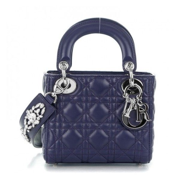 28bf0661d7c CHRISTIAN DIOR Lambskin Cannage Crystal Mini Lady Dior Navy Blue ❤ liked on  Polyvore featuring bags, handbags, christian dior purses, mini tote, ...