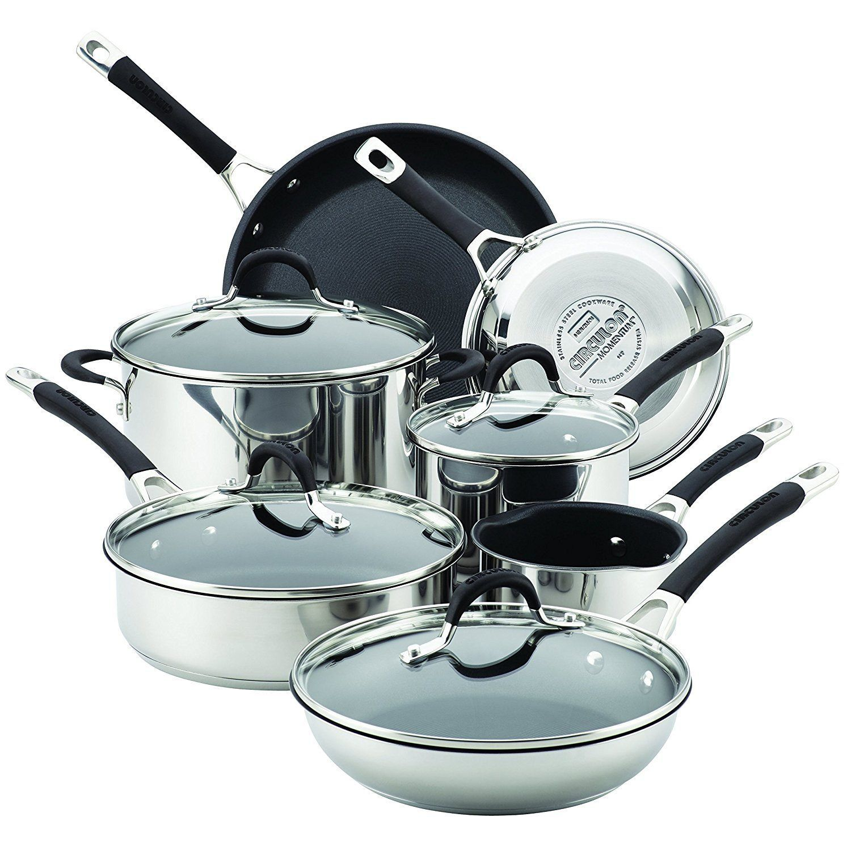 Circulon 78003 11 Piece Momentum Nonstick Stainless Steel Cookware ...