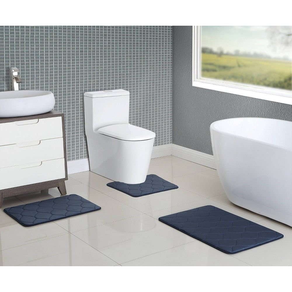 3pc Memory Foam Contour Bath Set Blue Vcny Bath Rugs Sets