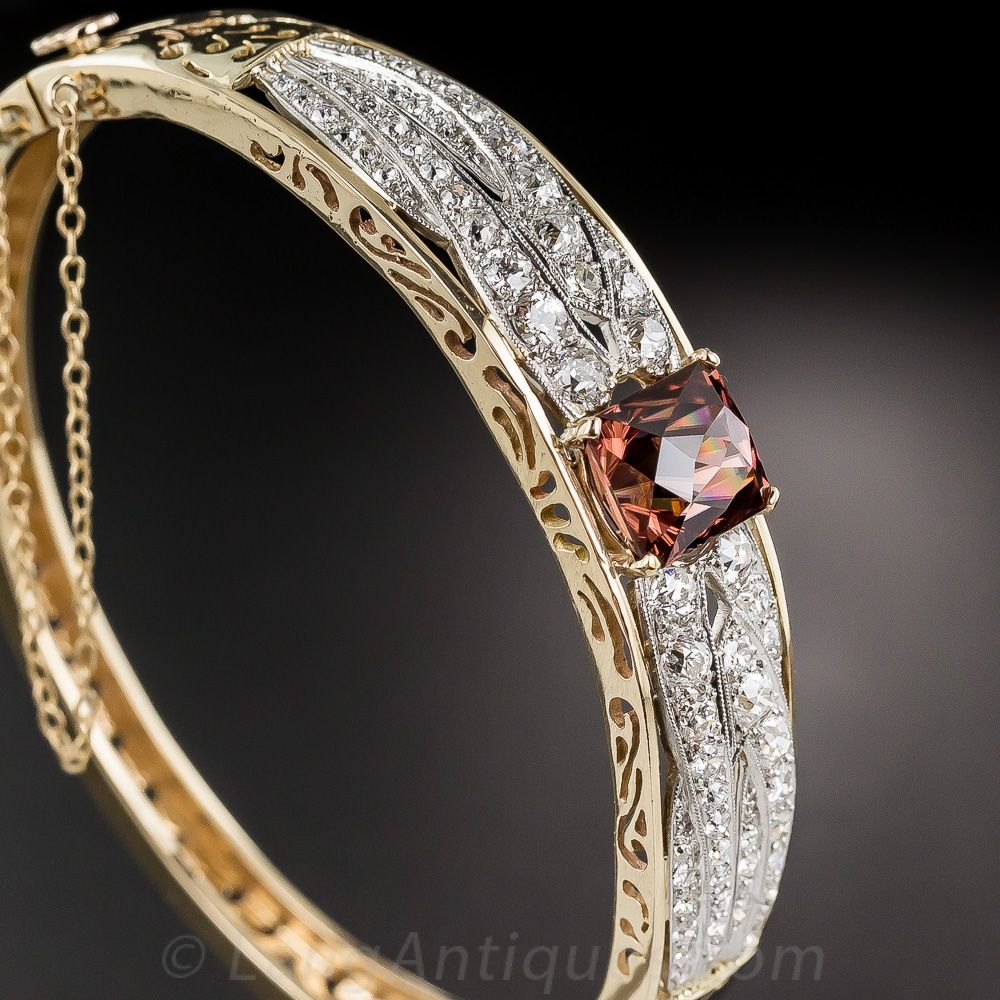 Cinnamon Zircon and Diamond Bangle Bracelet - 40-1-4622 - Lang Antiques
