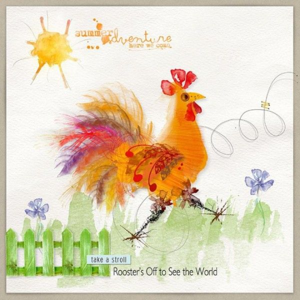 Rooster S Off To See The World Oscraps Gallery Rooster Watercolor Feather Watercolor Flowers