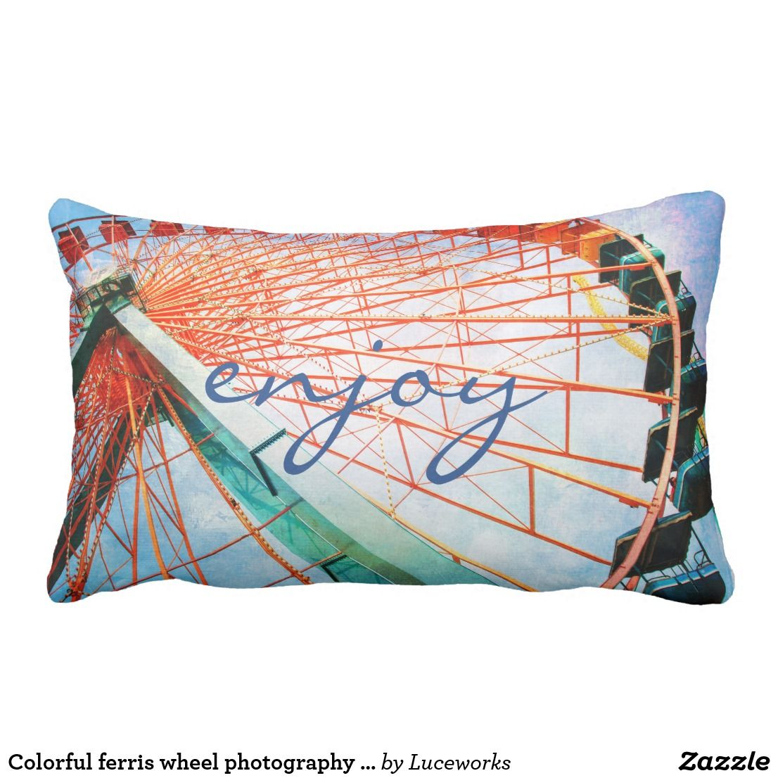 "Colorful ferris wheel photography pillow ""enjoy"""