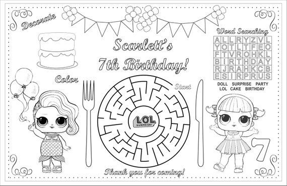 New!!! Printable LOL Table Mat, Birthday Kids Activity