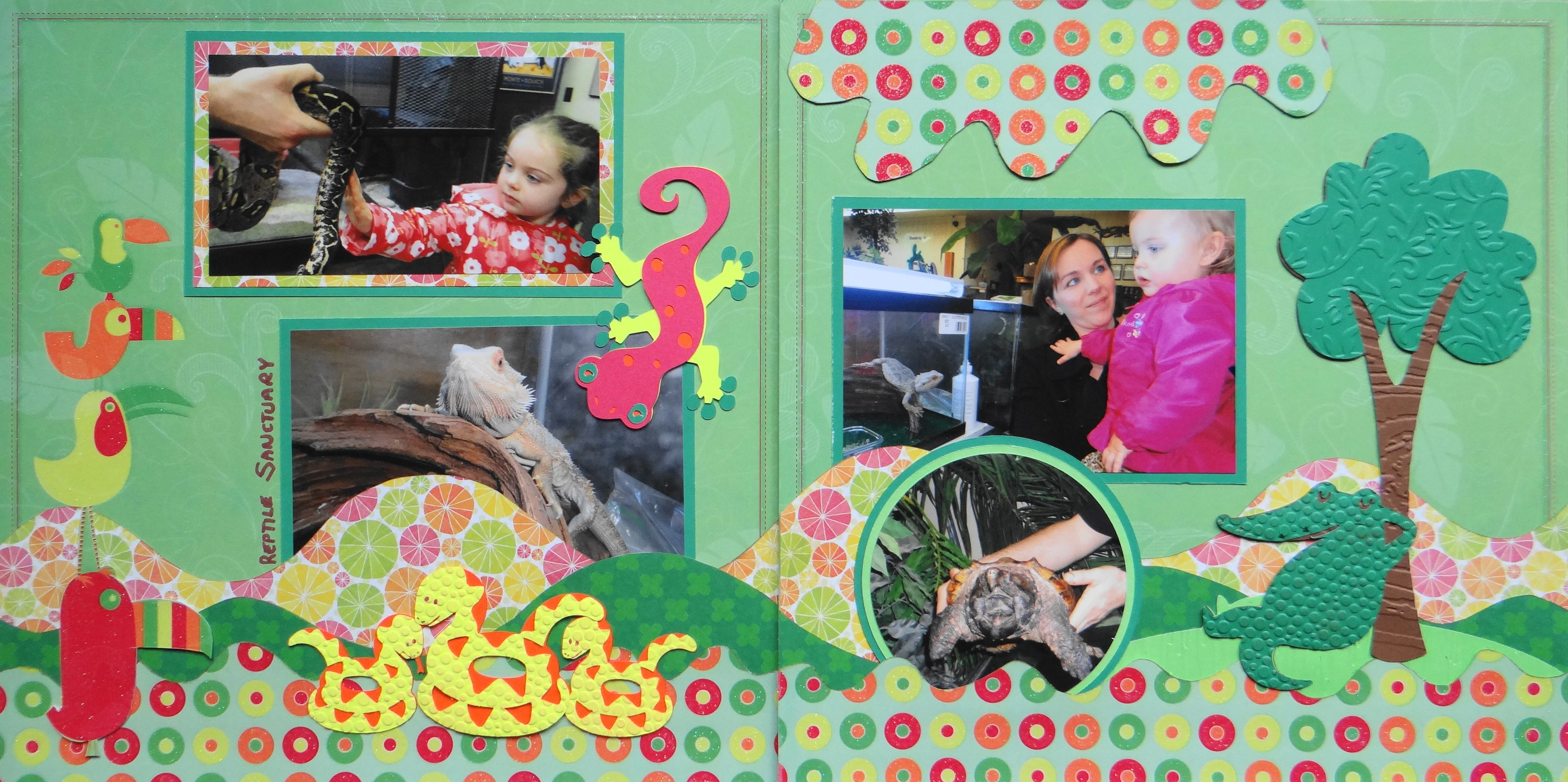 Zoo animal scrapbook ideas - Scrapbook Page Reptile Sanctuary 2 Page Layout With Iguana Turtle Snake From