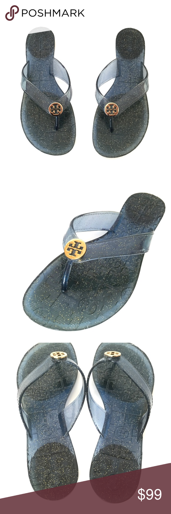 Tory Burch Thora Jelly Glitter Sandals Blue 7