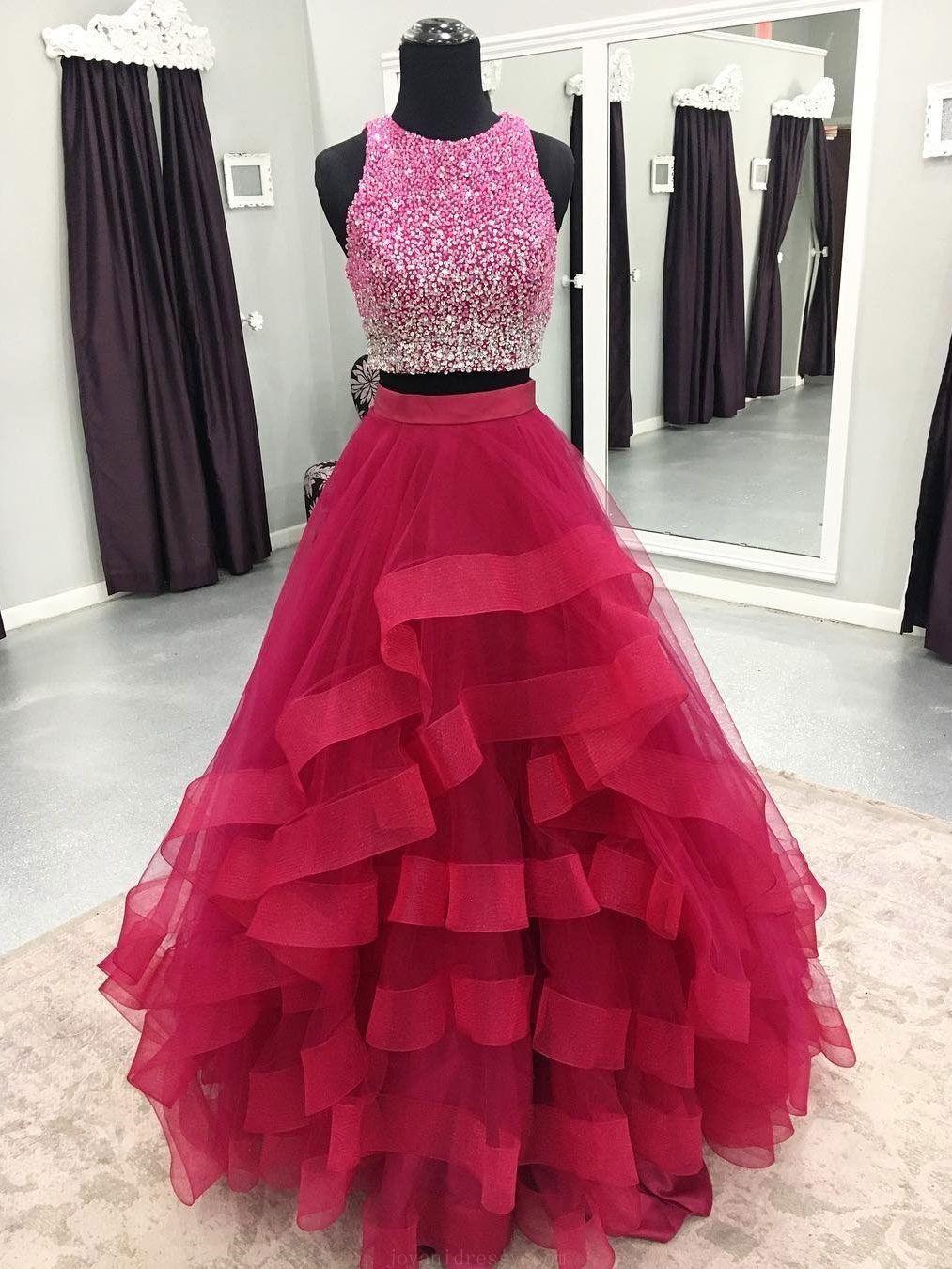 Custom made soft prom dresses two piece prom dresses long cheap