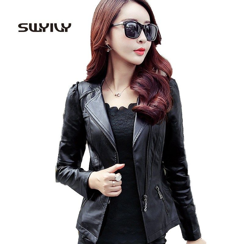 473e95e0bc1 Sale US $24.55 Zipper PU Leather Jacket Coat Short Solid Motorcycle Slim  Jacket With Pocket 2017 Classic Basic Spring Jacket Women Outwear 3XL .