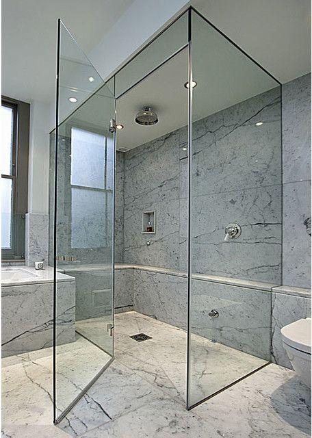 Elegant Warm Tile Showers With Sliding Glass Doors