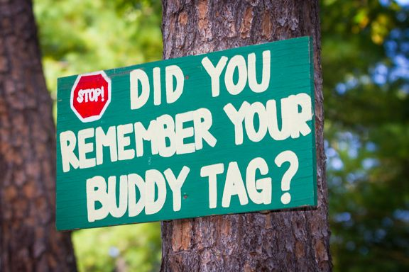 Cute signage from a camp wedding. :)