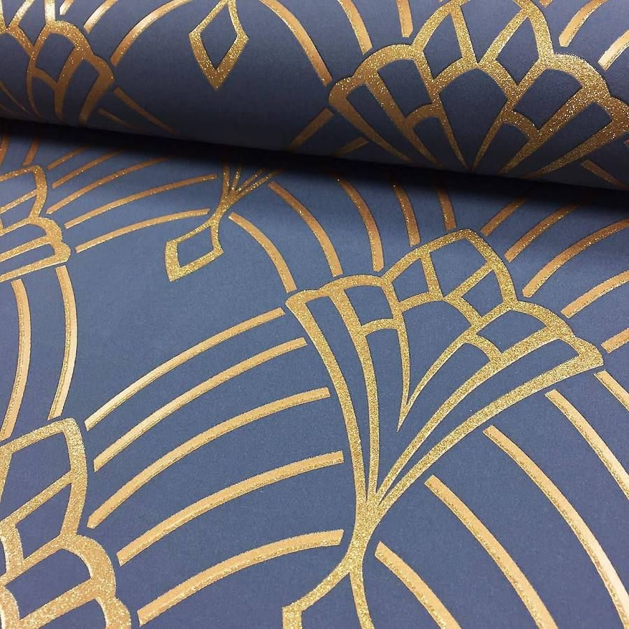 Pin by Heatherwuh on Kitchen Blue, gold wallpaper, Art