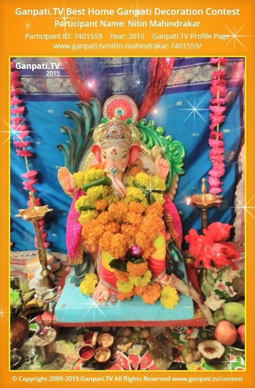 Nitin Mahindrakar Home Ganpati Picture 2015. View More Pictures And Videos  Of Ganpati Decoration At