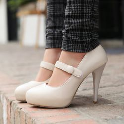 Online Shop Fashion Womens Chunky High Heel Platform Ankle Strap Mary Jane Leather Wedding Bridal Classic Pumps Ladies Shoes Size 34-39|Aliexpress Mobile