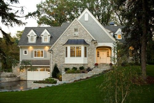 this mixture of grey siding and stone is what I am dreaming of . . .
