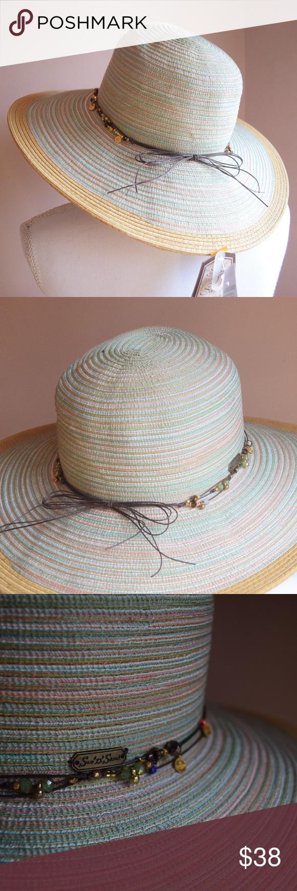 Sun N Sand Multi Color Beaded Bow Floppy Beach Hat NWT in 2018  8ec6af88dbd1